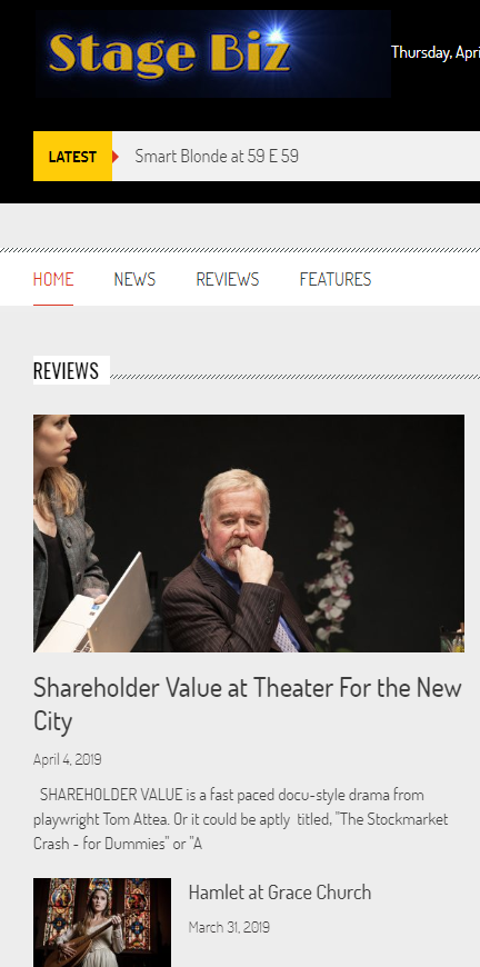 Shareholder Value_Screen Shot_Rave Review on Home Page_Stage Bix